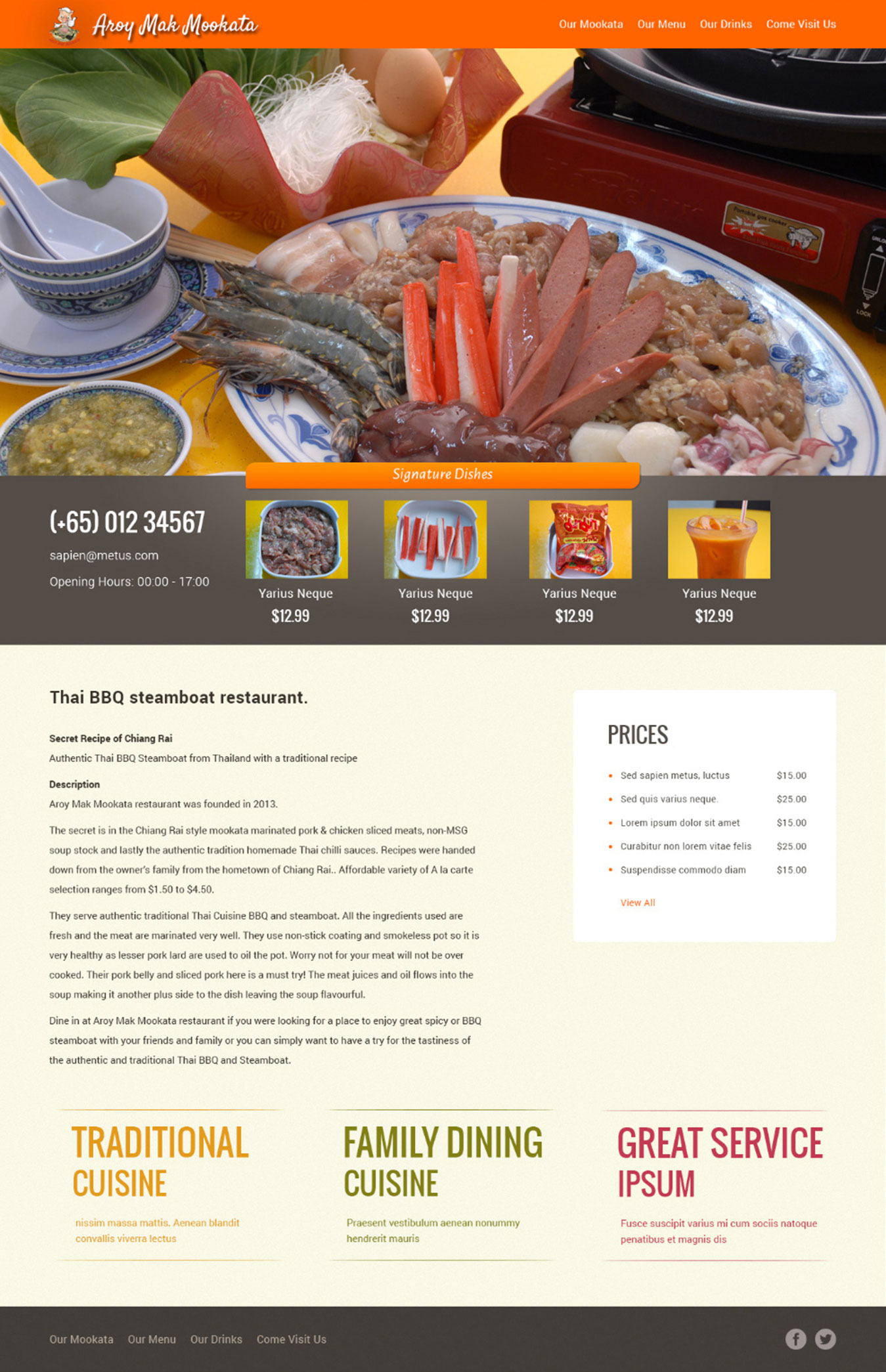 WordPress CMS Website Design for Steamboat Restaurant